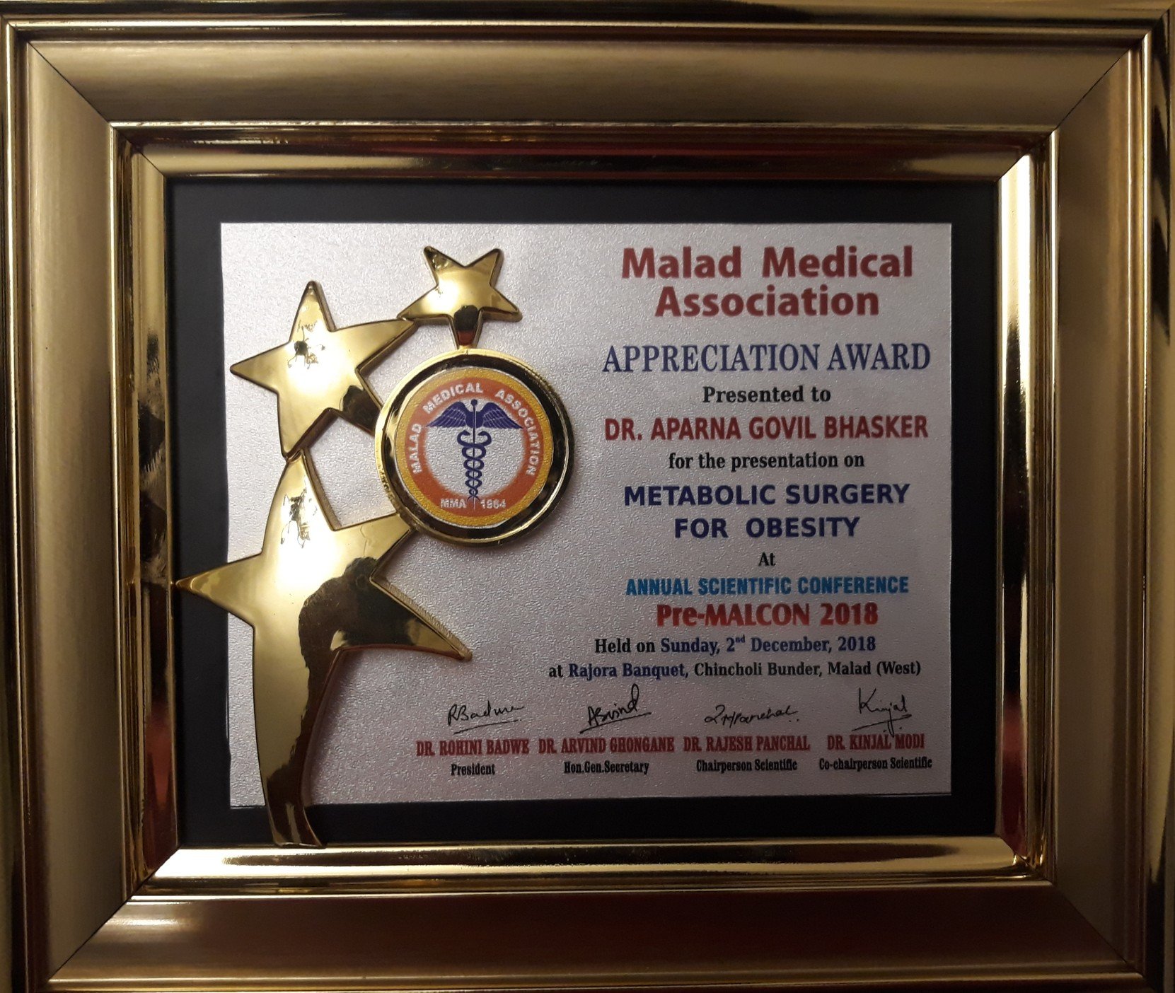 Honoured to have spoken on Metabolic surgery for treatment of obesity at PRE MALCON in Malad Medical Association on 2nd December 2018 (1)