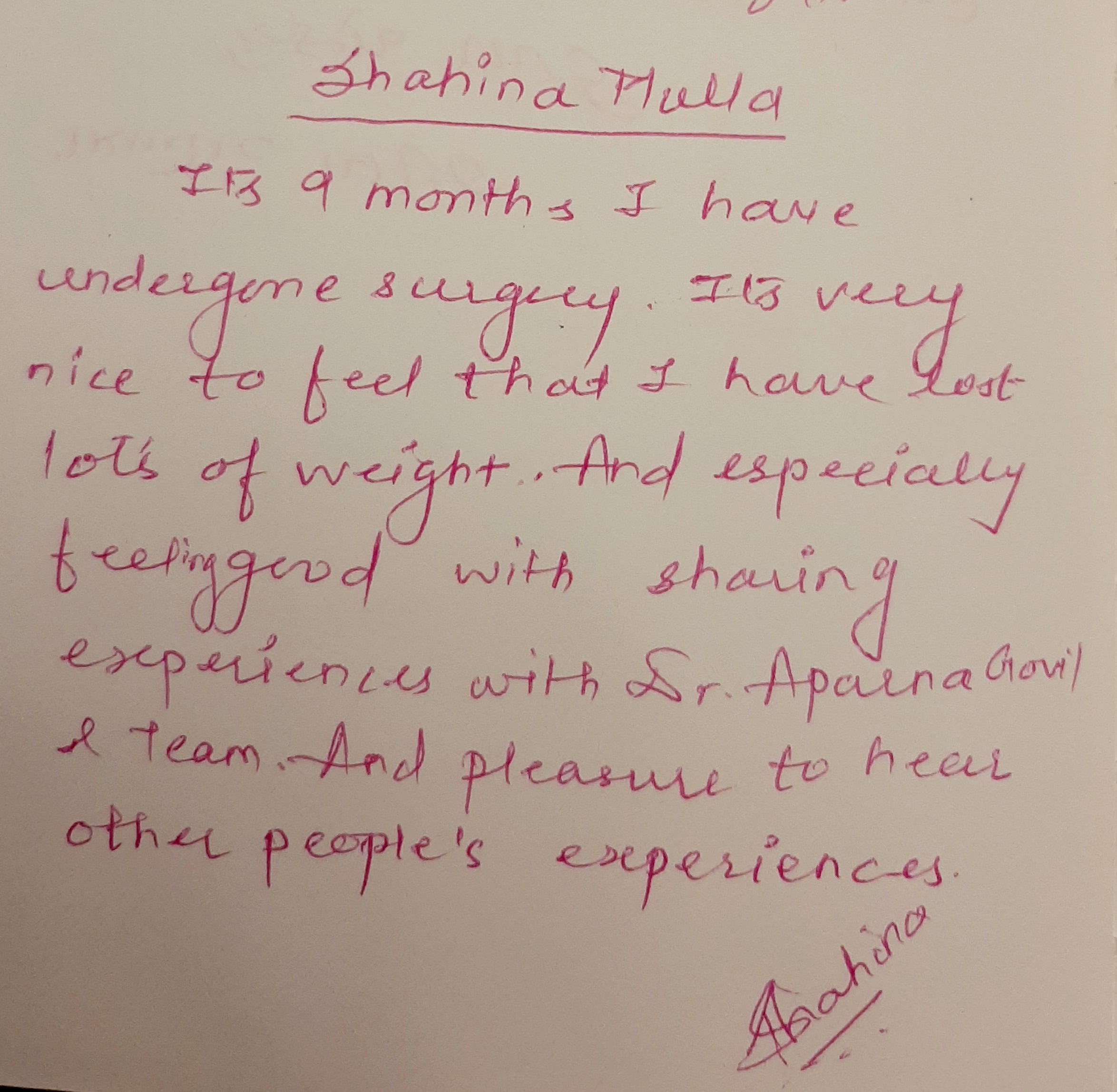 patient testimonial on bariatric surgery and weight loss in india (3)