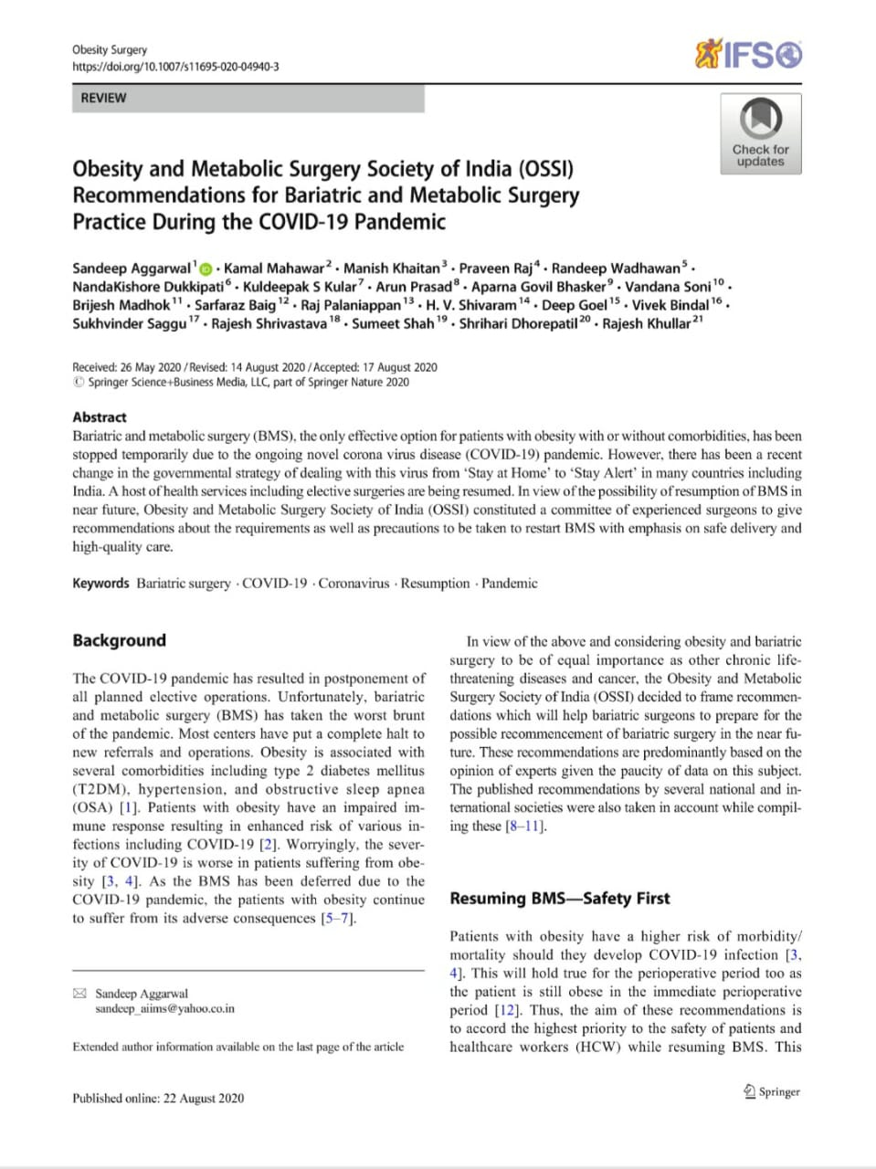 ossi recommendations for bariatric surgery and metabolic surgery due to covid19